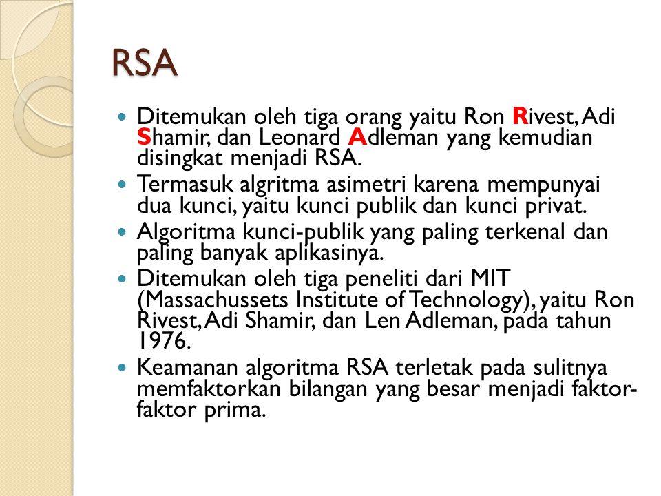 RSA Ditemukan oleh tiga orang yaitu Ron Rivest, Adi Shamir, dan Leonard Adleman yang kemudian disingkat menjadi RSA. Termasuk algritma asimetri karena
