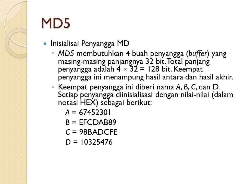 MD5 Inisialisai Penyangga MD ◦ MD5 membutuhkan 4 buah penyangga (buffer) yang masing-masing panjangnya 32 bit. Total panjang penyangga adalah 4  32 =