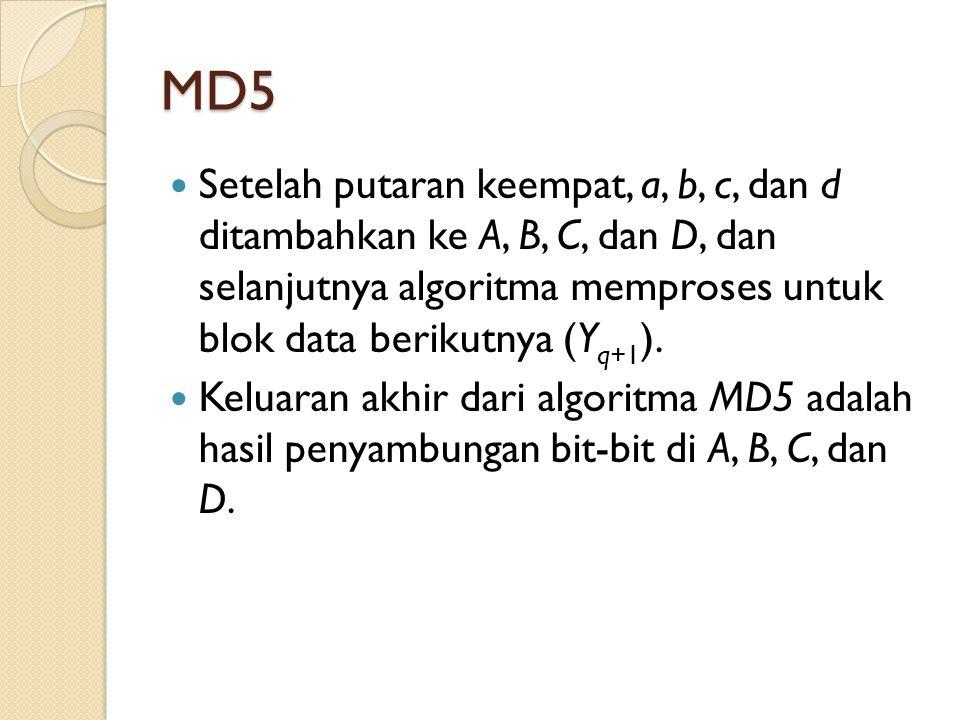 MD5 Setelah putaran keempat, a, b, c, dan d ditambahkan ke A, B, C, dan D, dan selanjutnya algoritma memproses untuk blok data berikutnya (Y q+1 ). Ke