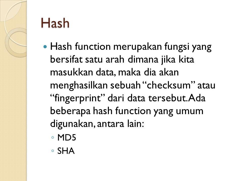 """Hash Hash function merupakan fungsi yang bersifat satu arah dimana jika kita masukkan data, maka dia akan menghasilkan sebuah """"checksum"""" atau """"fingerp"""