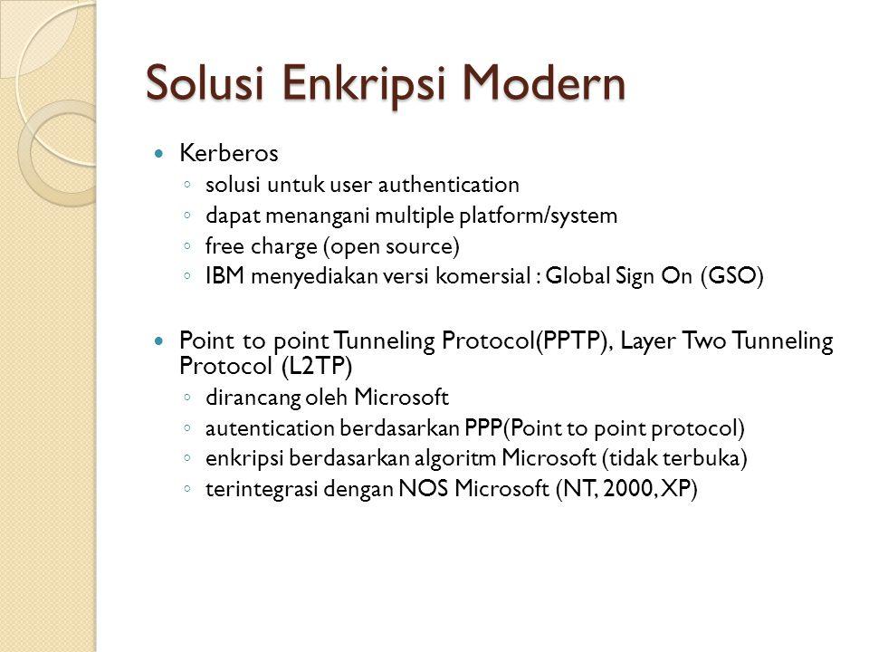 Solusi Enkripsi Modern Kerberos ◦ solusi untuk user authentication ◦ dapat menangani multiple platform/system ◦ free charge (open source) ◦ IBM menyed