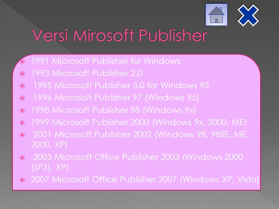  1991 Microsoft Publisher for Windows  1993 Microsoft Publisher 2.0  1995 Microsoft Publisher 3.0 for Windows 95  1996 Microsoft Publisher 97 (Win