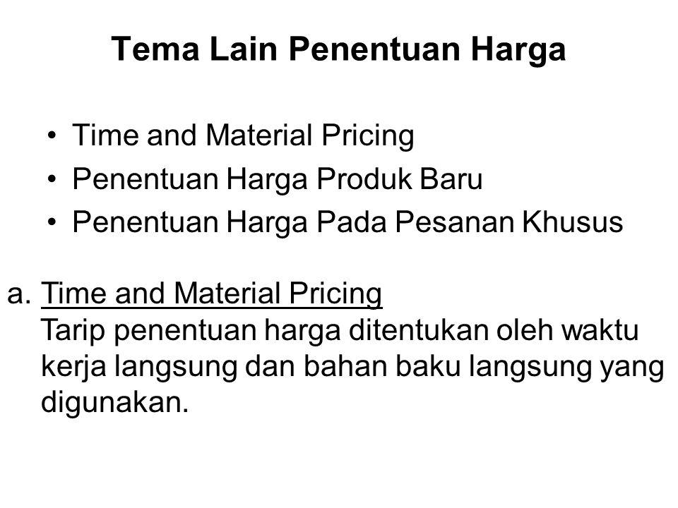 Tema Lain Penentuan Harga Time and Material Pricing Penentuan Harga Produk Baru Penentuan Harga Pada Pesanan Khusus a.Time and Material Pricing Tarip