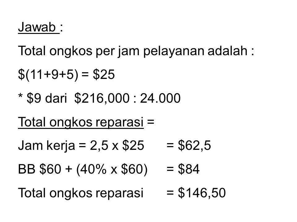 Jawab : Total ongkos per jam pelayanan adalah : $(11+9+5) = $25 * $9 dari $216,000 : 24.000 Total ongkos reparasi = Jam kerja = 2,5 x $25 = $62,5 BB $