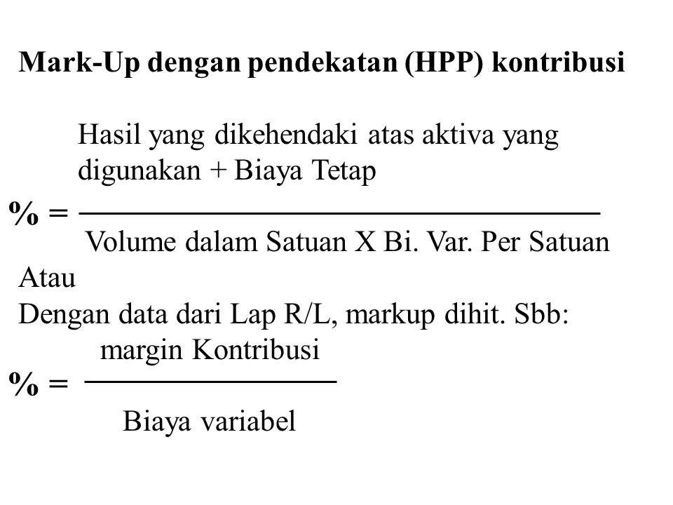 Contoh perhitungan HPP (untuk 10,000 unit): BBB $5, BTKL $4, BOPv $4, Bi pjln & adm var $1, BOPt $70,000, Bi pjln & adm tetap $10,000 Hitung HPP dengan pendekatan penyerapan dan kontribusi.