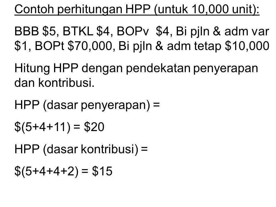 Contoh perhitungan HPP (untuk 10,000 unit): BBB $5, BTKL $4, BOPv $4, Bi pjln & adm var $1, BOPt $70,000, Bi pjln & adm tetap $10,000 Hitung HPP denga