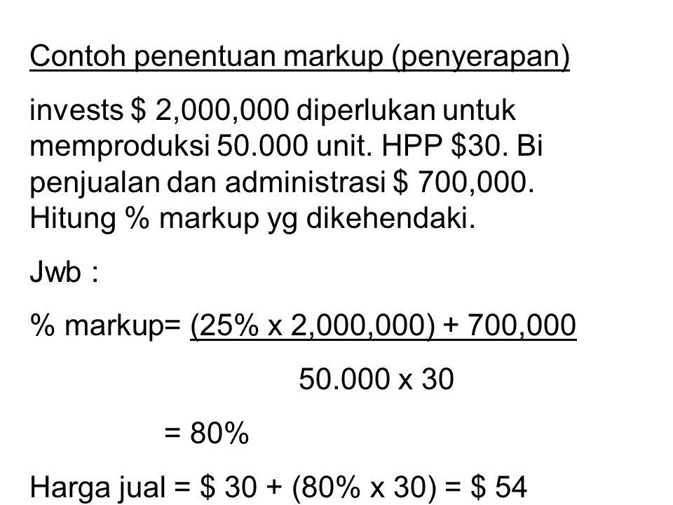 Contoh penentuan markup (penyerapan) invests $ 2,000,000 diperlukan untuk memproduksi 50.000 unit. HPP $30. Bi penjualan dan administrasi $ 700,000. H