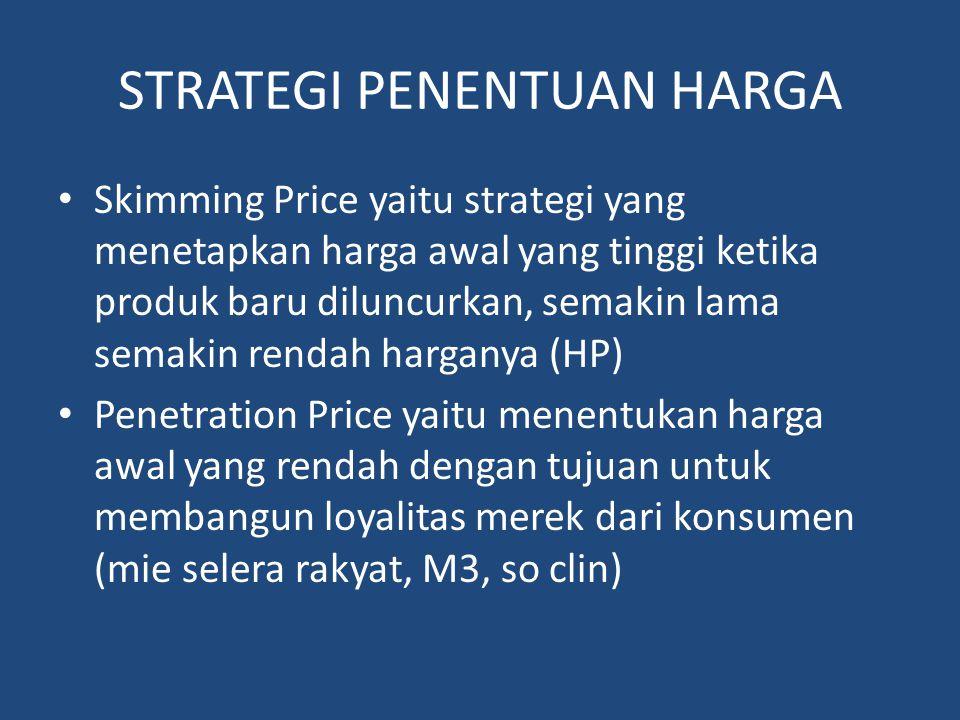 STRATEGI PENENTUAN HARGA Skimming Price yaitu strategi yang menetapkan harga awal yang tinggi ketika produk baru diluncurkan, semakin lama semakin ren