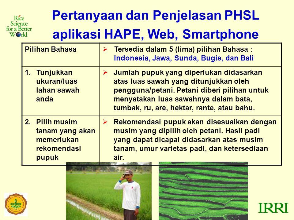 Pertanyaan dan Penjelasan PHSL aplikasi HAPE, Web, Smartphone Pilihan Bahasa  Tersedia dalam 5 (lima) pilihan Bahasa : Indonesia, Jawa, Sunda, Bugis, dan Bali 1.Tunjukkan ukuran/luas lahan sawah anda  Jumlah pupuk yang diperlukan didasarkan atas luas sawah yang ditunjukkan oleh pengguna/petani.