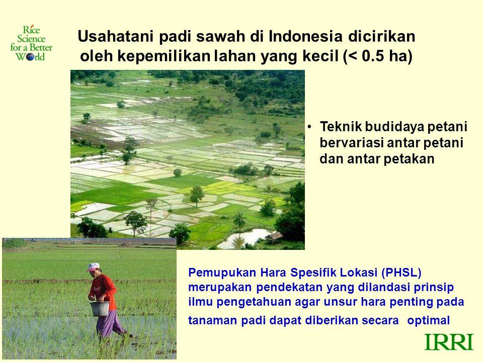 Usahatani padi sawah di Indonesia dicirikan oleh kepemilikan lahan yang kecil (< 0.5 ha) Teknik budidaya petani bervariasi antar petani dan antar petakan Pemupukan Hara Spesifik Lokasi (PHSL) merupakan pendekatan yang dilandasi prinsip ilmu pengetahuan agar unsur hara penting pada tanaman padi dapat diberikan secara optimal