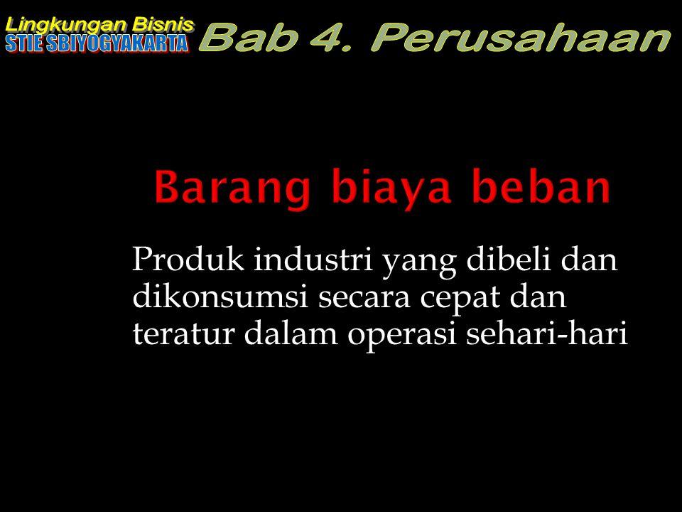 Produk industri yang dibeli dan dikonsumsi secara cepat dan teratur dalam operasi sehari-hari