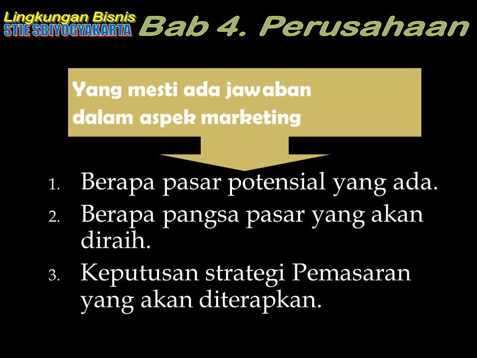 1. Berapa pasar potensial yang ada. 2. Berapa pangsa pasar yang akan diraih. 3. Keputusan strategi Pemasaran yang akan diterapkan. Yang mesti ada jawa