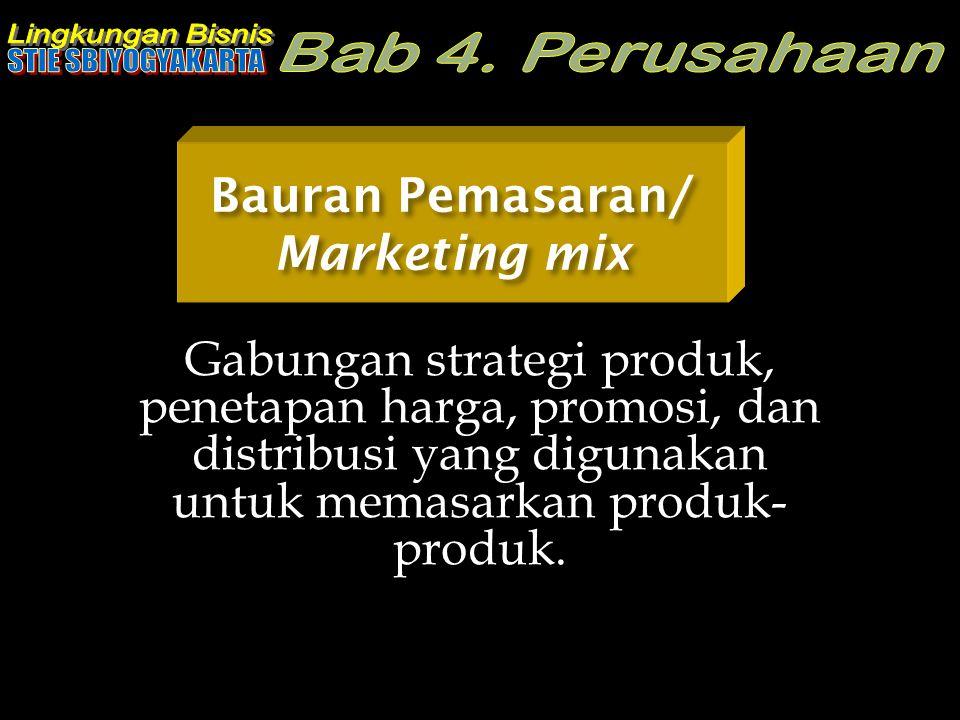 Bauran Pemasaran/ Marketing mix Gabungan strategi produk, penetapan harga, promosi, dan distribusi yang digunakan untuk memasarkan produk- produk.