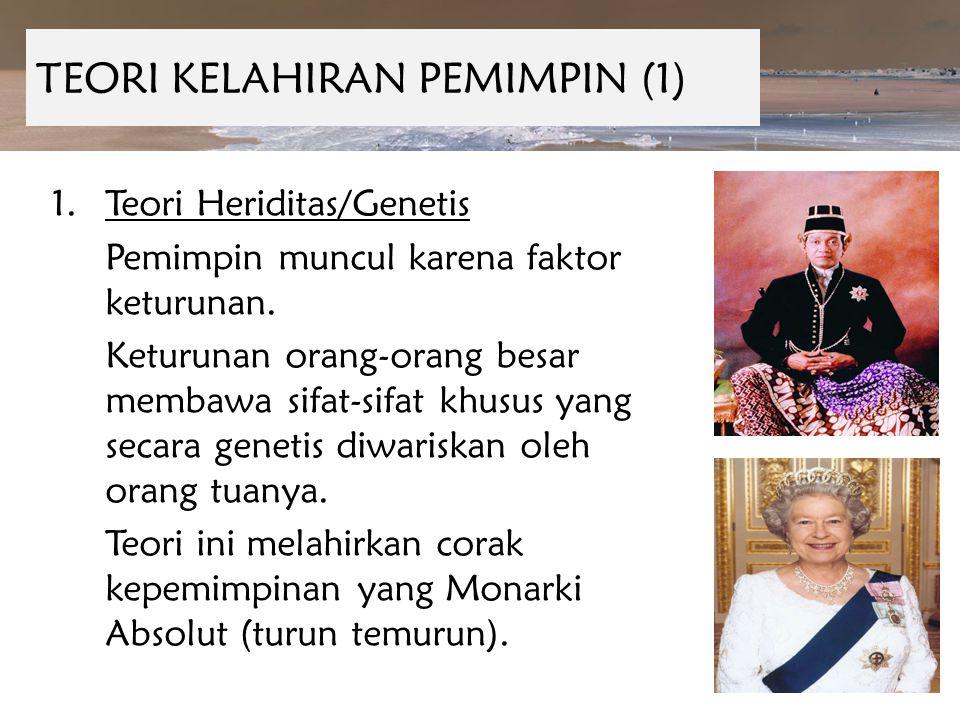 TEORI KELAHIRAN PEMIMPIN (1) 1.Teori Heriditas/Genetis Pemimpin muncul karena faktor keturunan. Keturunan orang-orang besar membawa sifat-sifat khusus