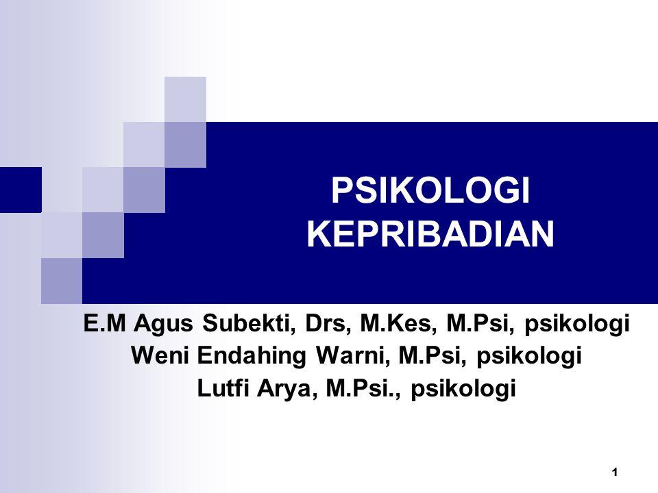 1 PSIKOLOGI KEPRIBADIAN E.M Agus Subekti, Drs, M.Kes, M.Psi, psikologi Weni Endahing Warni, M.Psi, psikologi Lutfi Arya, M.Psi., psikologi
