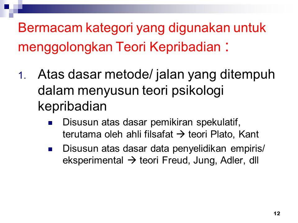 12 Bermacam kategori yang digunakan untuk menggolongkan Teori Kepribadian : 1. Atas dasar metode/ jalan yang ditempuh dalam menyusun teori psikologi k