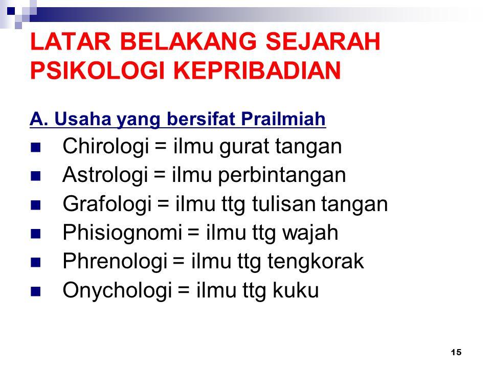 15 LATAR BELAKANG SEJARAH PSIKOLOGI KEPRIBADIAN A. Usaha yang bersifat Prailmiah Chirologi = ilmu gurat tangan Astrologi = ilmu perbintangan Grafologi