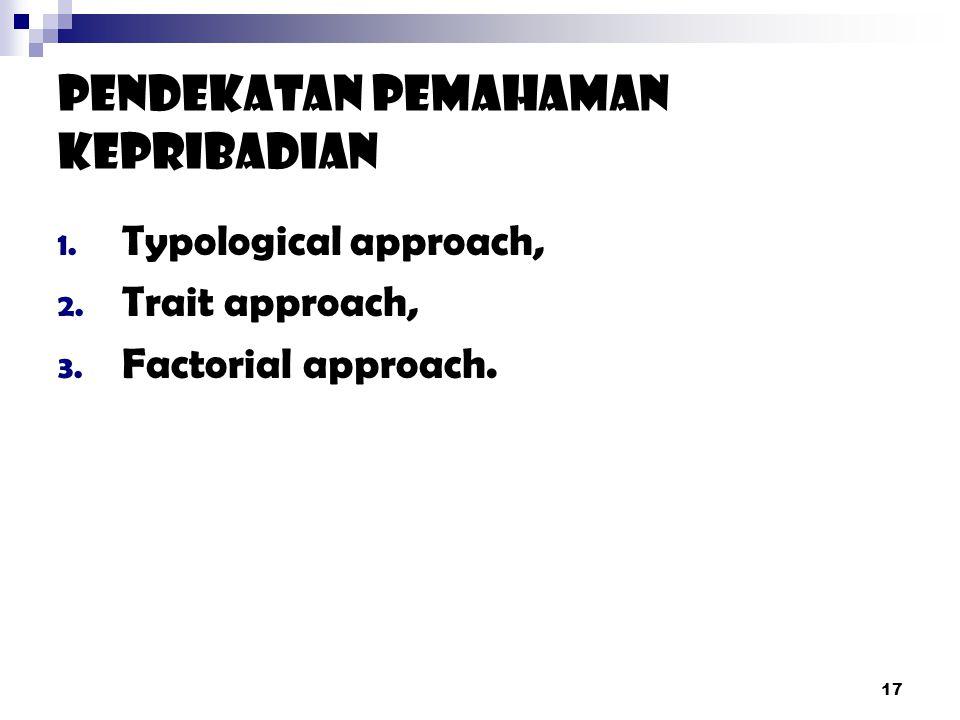 17 Pendekatan Pemahaman Kepribadian 1.Typological approach, 2.