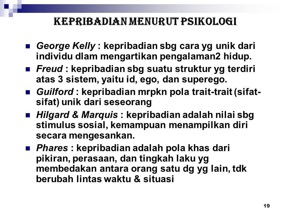 19 KEPRIBADIAN MENURUT PSIKOLOGI George Kelly : kepribadian sbg cara yg unik dari individu dlam mengartikan pengalaman2 hidup. Freud : kepribadian sbg