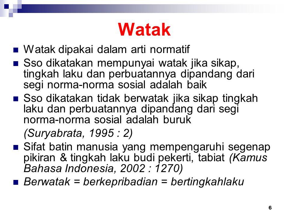 6 Watak Watak dipakai dalam arti normatif Sso dikatakan mempunyai watak jika sikap, tingkah laku dan perbuatannya dipandang dari segi norma-norma sosi