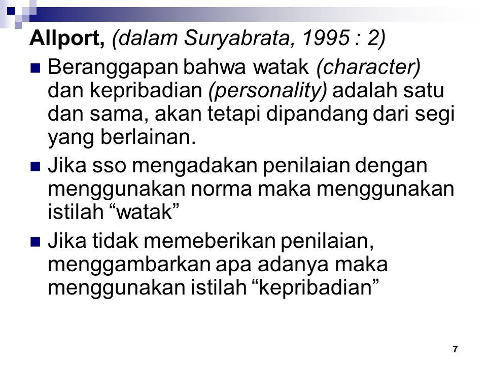 7 Allport, (dalam Suryabrata, 1995 : 2) Beranggapan bahwa watak (character) dan kepribadian (personality) adalah satu dan sama, akan tetapi dipandang