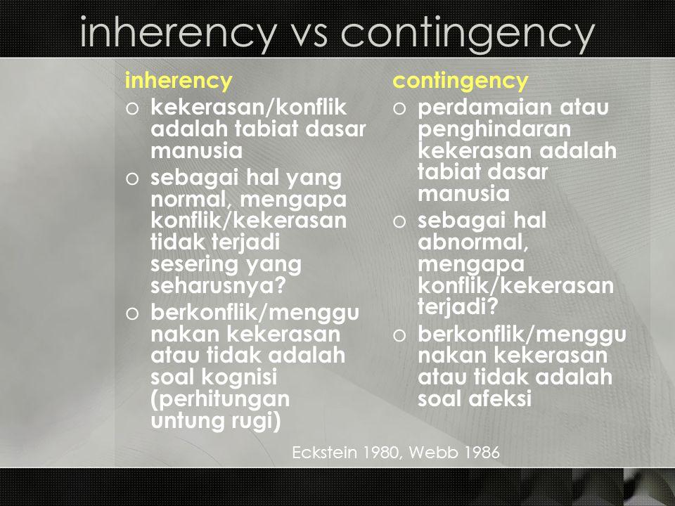inherency vs contingency inherency o kekerasan/konflik adalah tabiat dasar manusia o sebagai hal yang normal, mengapa konflik/kekerasan tidak terjadi