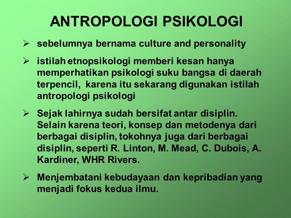 ANTROPOLOGI PSIKOLOGI  sebelumnya bernama culture and personality  istilah etnopsikologi memberi kesan hanya memperhatikan psikologi suku bangsa di daerah terpencil, karena itu sekarang digunakan istilah antropologi psikologi  Sejak lahirnya sudah bersifat antar disiplin.
