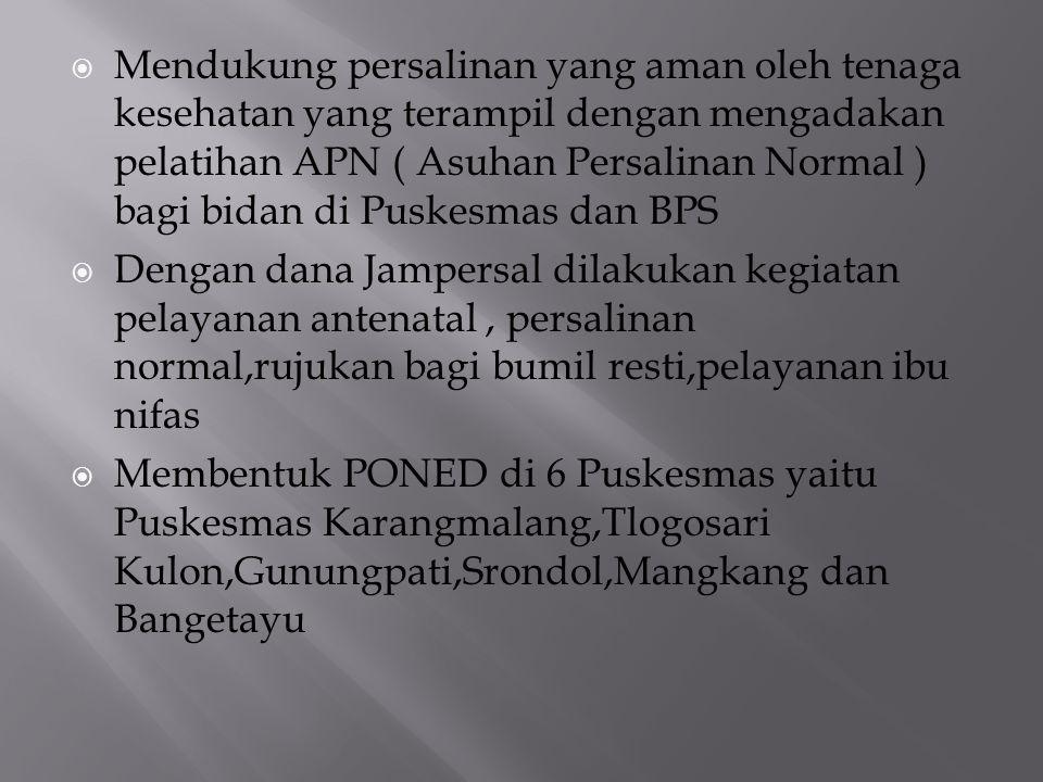  Mendukung persalinan yang aman oleh tenaga kesehatan yang terampil dengan mengadakan pelatihan APN ( Asuhan Persalinan Normal ) bagi bidan di Puskes