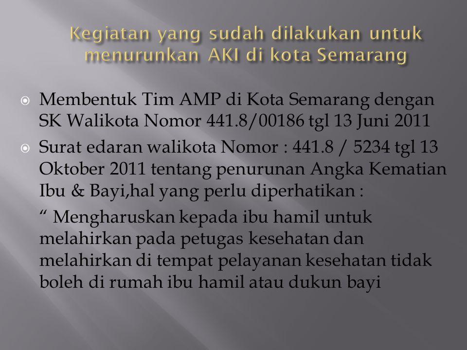  Membentuk Tim AMP di Kota Semarang dengan SK Walikota Nomor 441.8/00186 tgl 13 Juni 2011  Surat edaran walikota Nomor : 441.8 / 5234 tgl 13 Oktober