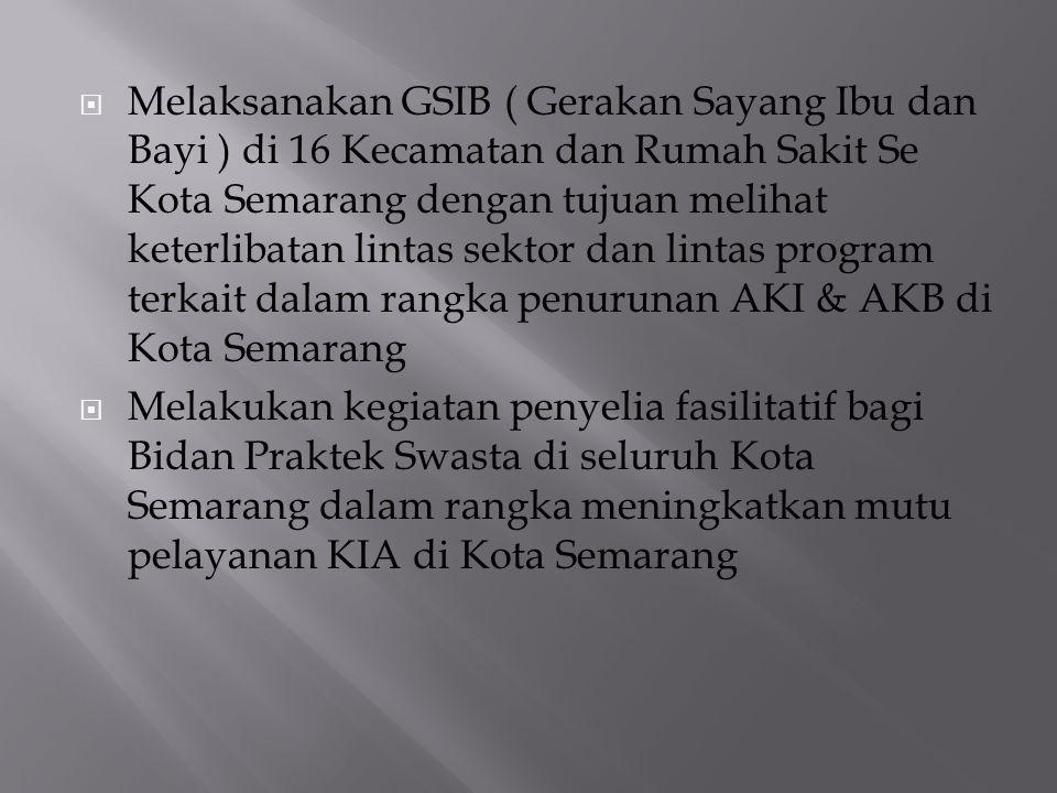  Melaksanakan GSIB ( Gerakan Sayang Ibu dan Bayi ) di 16 Kecamatan dan Rumah Sakit Se Kota Semarang dengan tujuan melihat keterlibatan lintas sektor
