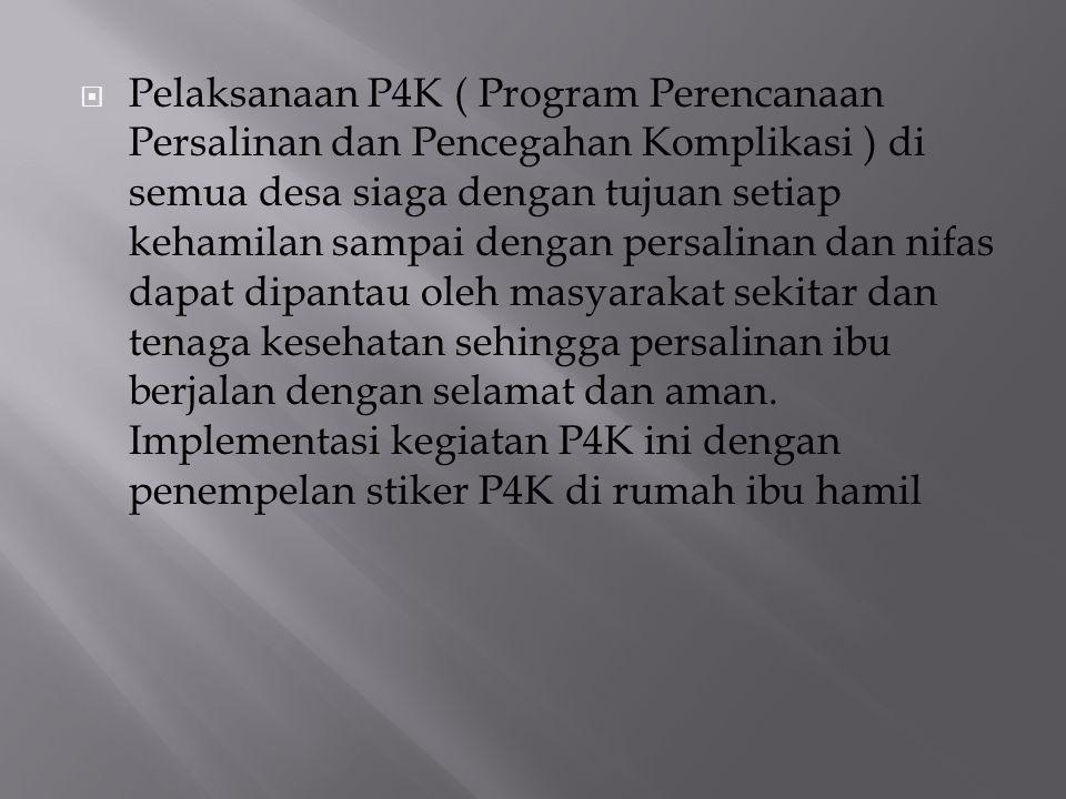  Pelaksanaan P4K ( Program Perencanaan Persalinan dan Pencegahan Komplikasi ) di semua desa siaga dengan tujuan setiap kehamilan sampai dengan persal