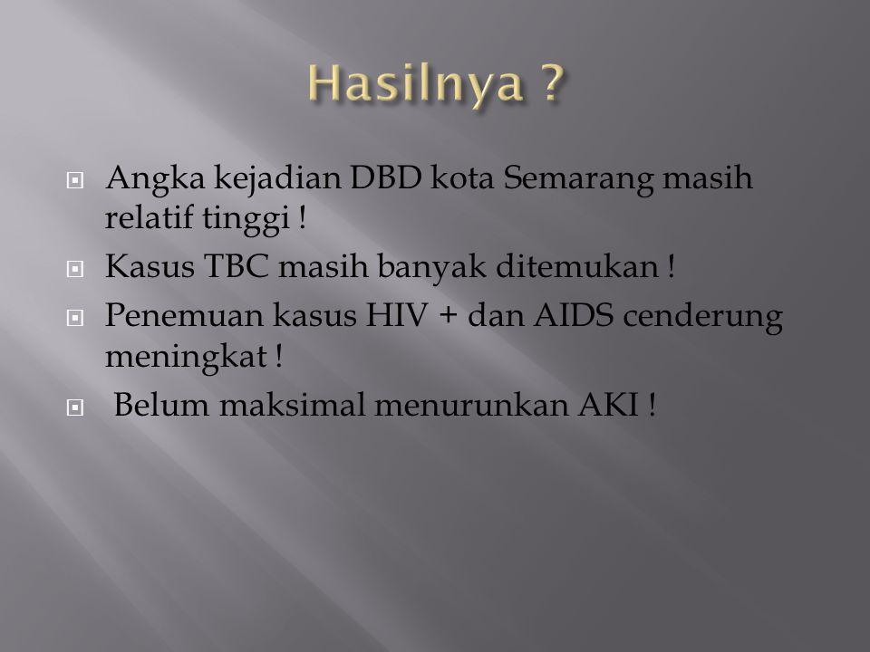  Angka kejadian DBD kota Semarang masih relatif tinggi !  Kasus TBC masih banyak ditemukan !  Penemuan kasus HIV + dan AIDS cenderung meningkat ! 