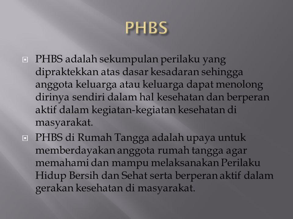  PHBS adalah sekumpulan perilaku yang dipraktekkan atas dasar kesadaran sehingga anggota keluarga atau keluarga dapat menolong dirinya sendiri dalam