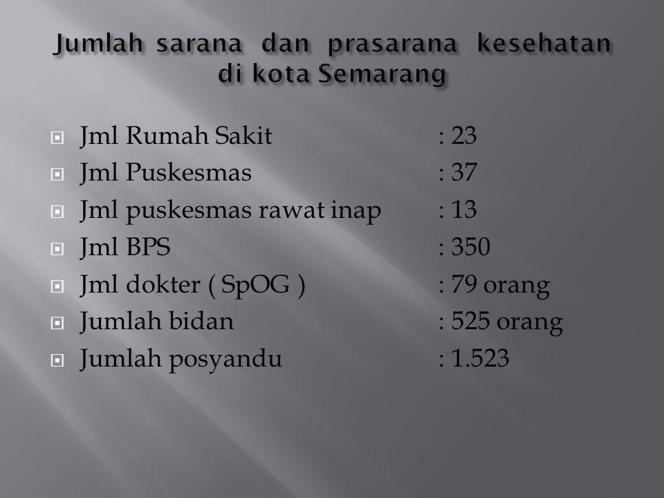 Jml Rumah Sakit: 23  Jml Puskesmas: 37  Jml puskesmas rawat inap: 13  Jml BPS: 350  Jml dokter ( SpOG ): 79 orang  Jumlah bidan : 525 orang  J