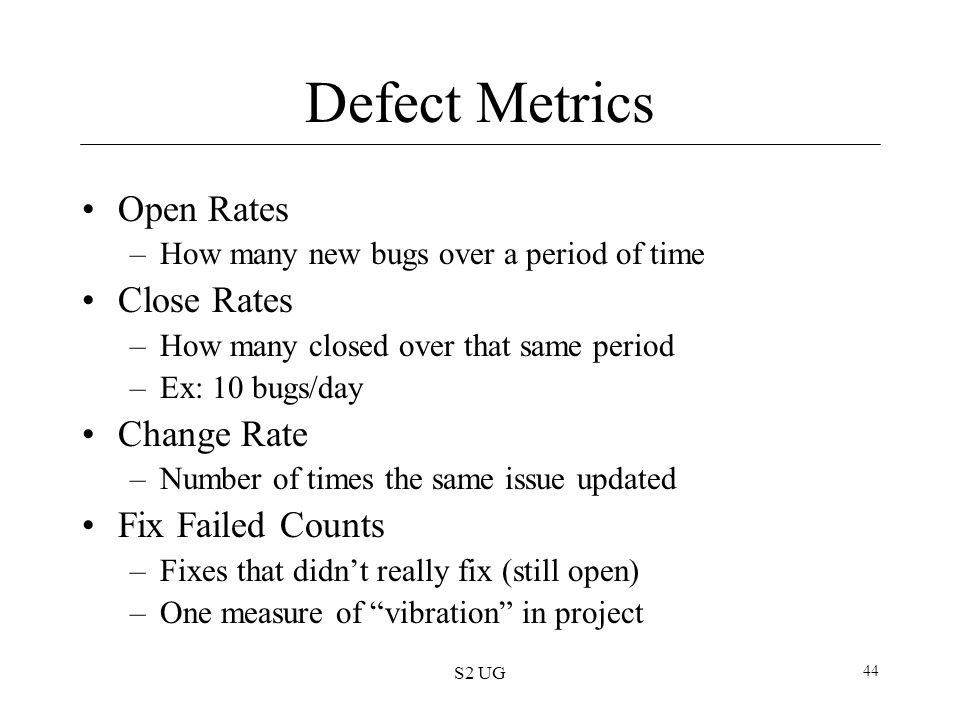 S2 UG 44 Defect Metrics Open Rates –How many new bugs over a period of time Close Rates –How many closed over that same period –Ex: 10 bugs/day Change