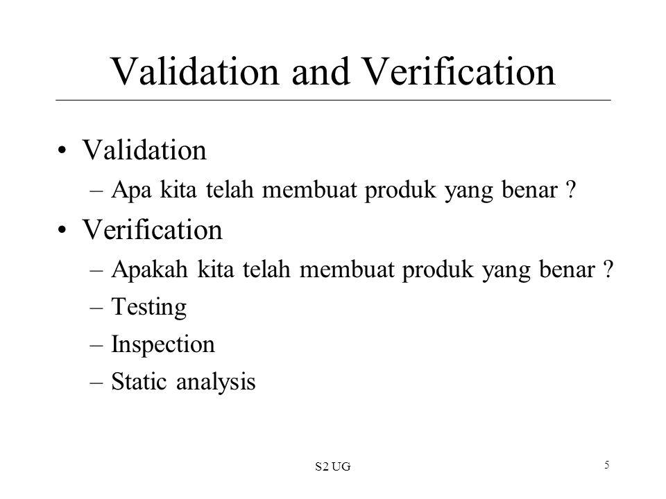 S2 UG 26 External Testing Milestones Alpha 1 st, Beta 2 nd Testing by users outside the organization Dikerjakan oleh user Alpha release Diberikan ke pengguna yang terbatas Product tidak menggambarkan secara lengkap Beta release Customer testing dan evaluasi Lebih menonjol Lebih baik setelah doftware stabil