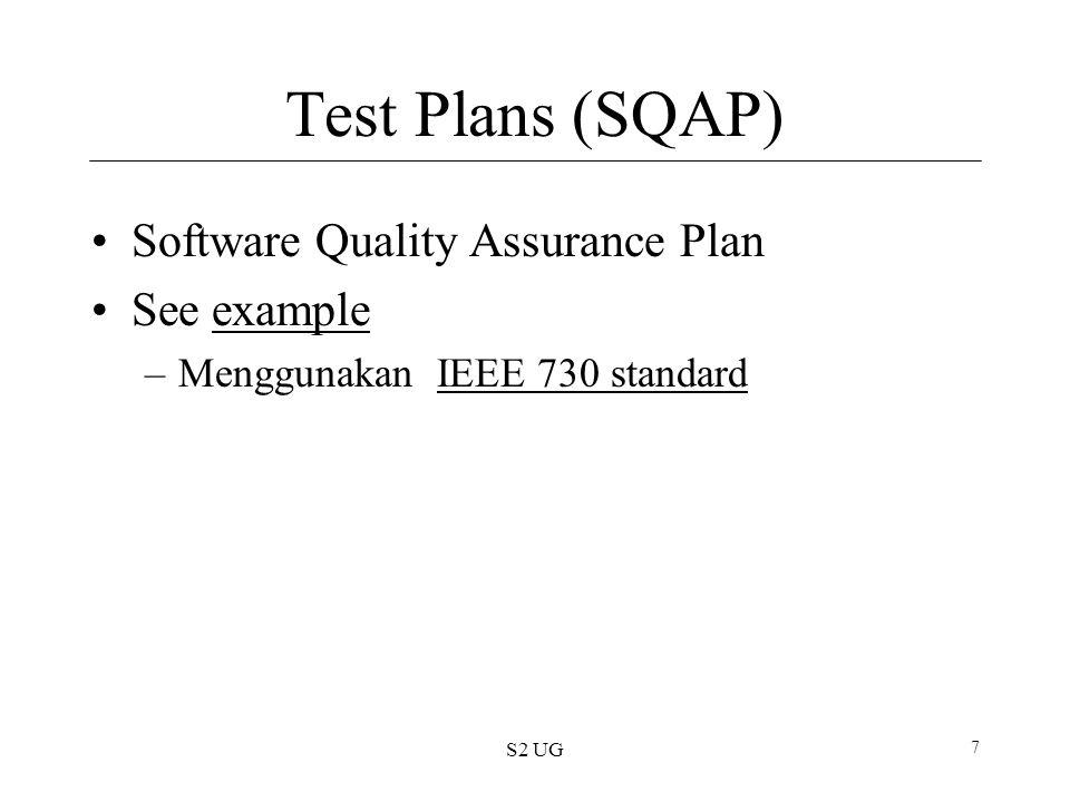 S2 UG 8 SQAP Standard sections –Purpose/kegunaan –Reference documents –Management –Documentation –Standards, practices, conventions, metrics Kualitas pengukuran Pengujian