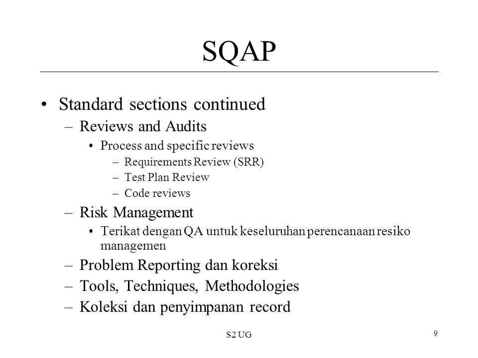 S2 UG 10 Software Quality Traceability/pelacakan Kesanggupan untuk melacak hubungan antara pekerjaan yang dihasilkan Formal Reviews Dilakukan pada akhir setiap lifecycle phase SRR (System Requirements Review ), CDR(Clinical Data Repositories ), etc.