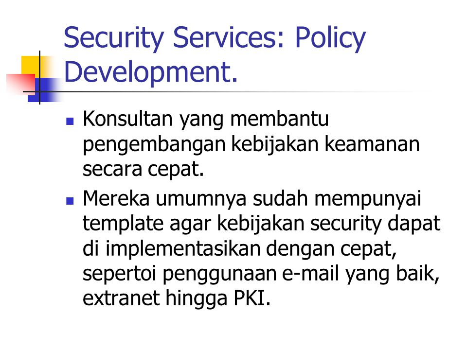 Security Services: Policy Development.
