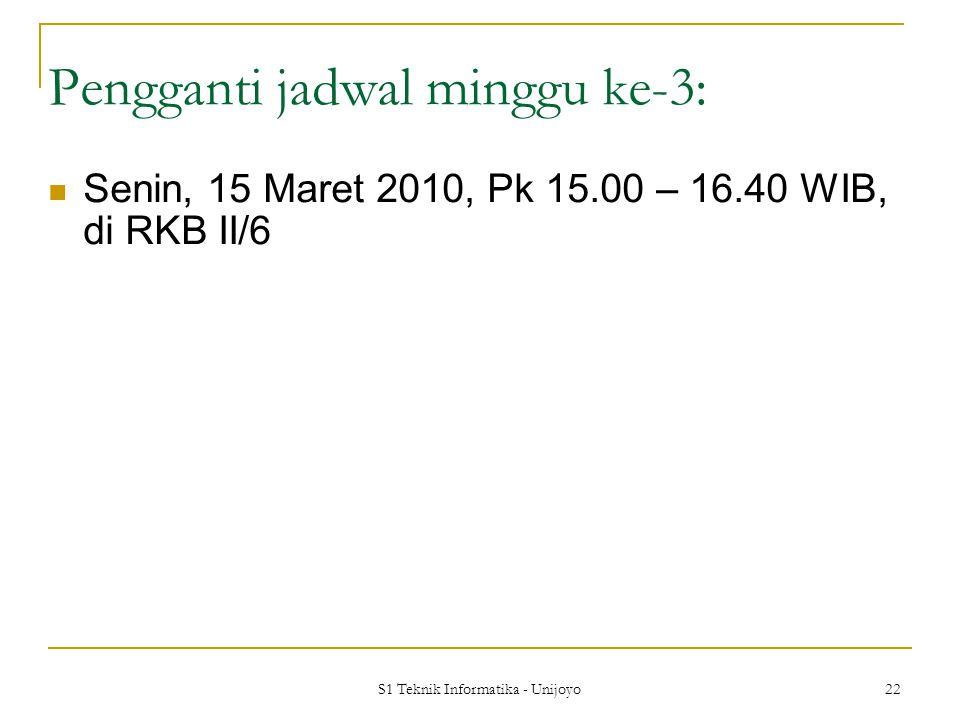 S1 Teknik Informatika - Unijoyo 22 Pengganti jadwal minggu ke-3: Senin, 15 Maret 2010, Pk 15.00 – 16.40 WIB, di RKB II/6