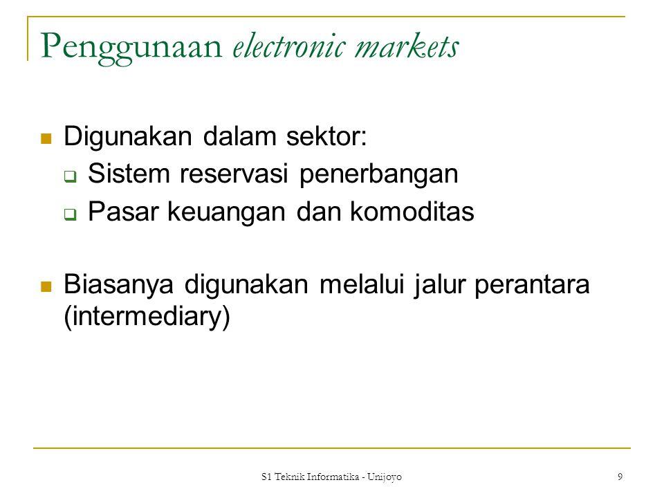 S1 Teknik Informatika - Unijoyo 9 Penggunaan electronic markets Digunakan dalam sektor:  Sistem reservasi penerbangan  Pasar keuangan dan komoditas Biasanya digunakan melalui jalur perantara (intermediary)