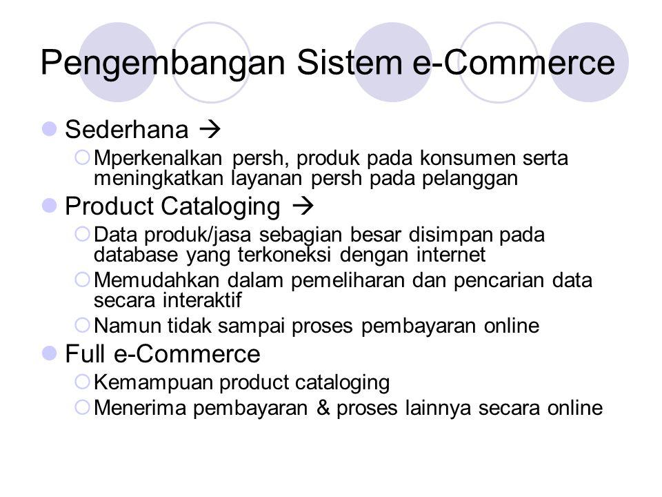 Pengembangan Sistem e-Commerce Sederhana   Mperkenalkan persh, produk pada konsumen serta meningkatkan layanan persh pada pelanggan Product Catalogi