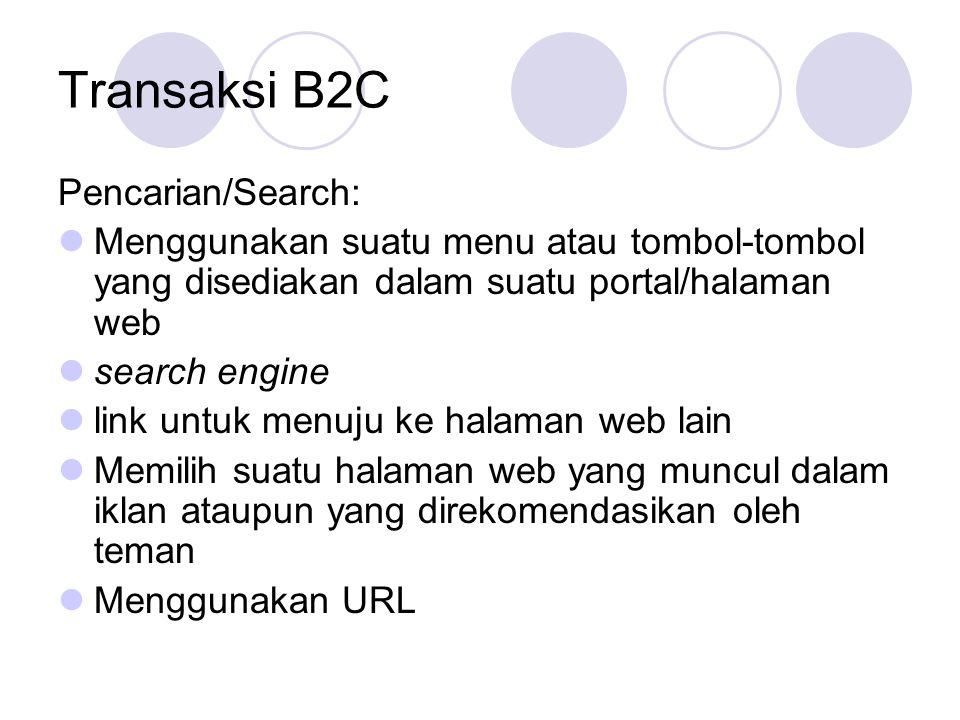 Transaksi B2C Pencarian/Search: Menggunakan suatu menu atau tombol-tombol yang disediakan dalam suatu portal/halaman web search engine link untuk menu