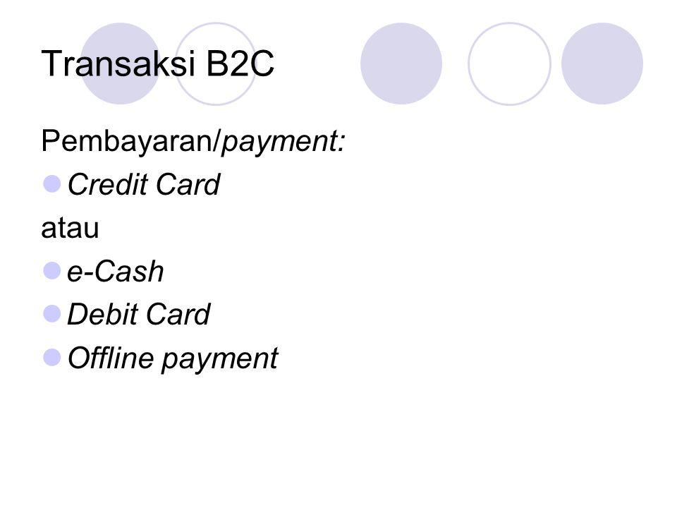 Transaksi B2C Pembayaran/payment: Credit Card atau e-Cash Debit Card Offline payment