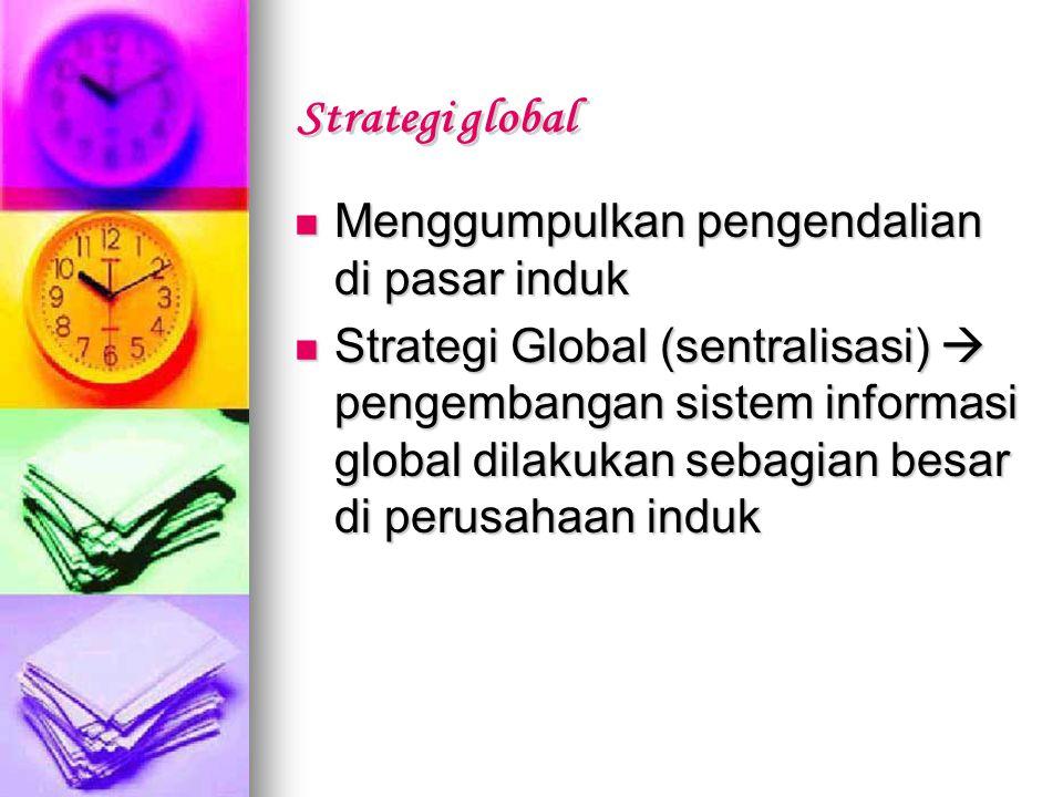 Menggumpulkan pengendalian di pasar induk Menggumpulkan pengendalian di pasar induk Strategi Global (sentralisasi)  pengembangan sistem informasi glo