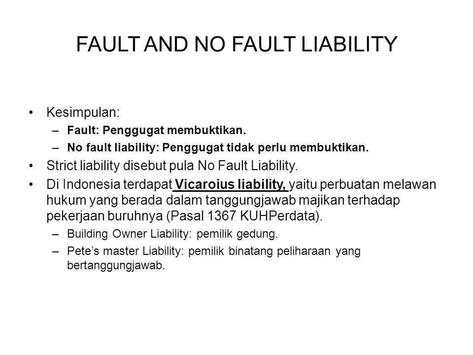 Kesimpulan: –Fault: Penggugat membuktikan. –No fault liability: Penggugat tidak perlu membuktikan. Strict liability disebut pula No Fault Liability. D