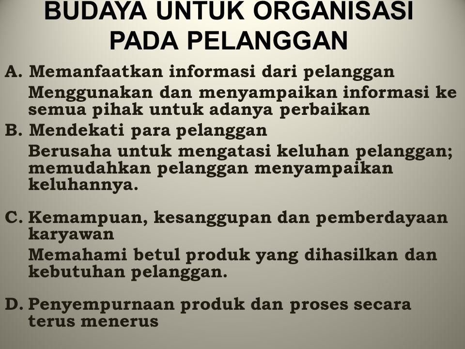 BUDAYA UNTUK ORGANISASI PADA PELANGGAN A. Memanfaatkan informasi dari pelanggan Menggunakan dan menyampaikan informasi ke semua pihak untuk adanya per