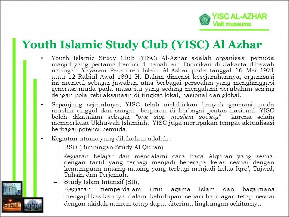 Tidak hanya sebagai tempat menimba ilmu agama Islam, YISC juga selalu menjadi sarana untuk mengembangkan potensi pemuda muslim melalui kegiatan seperti : –KAJIAN Ajang diskusi untuk meningkatkan daya analisa mengenai suatu kondisi yang sedang terjadi.