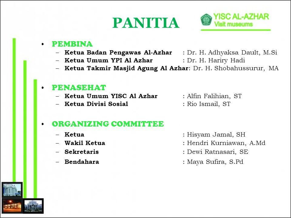 PANITIA PEMBINA – Ketua Badan Pengawas Al-Azhar : Dr. H. Adhyaksa Dault, M.Si – Ketua Umum YPI Al Azhar : Dr. H. Hariry Hadi – Ketua Takmir Masjid Agu
