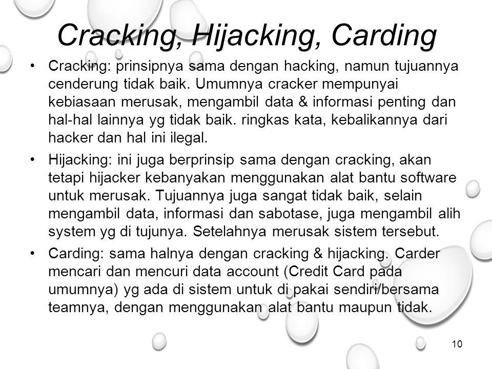 Cracking, Hijacking, Carding Cracking: prinsipnya sama dengan hacking, namun tujuannya cenderung tidak baik.